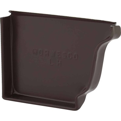 NorWesco 4 In. Galvanized Brown Left Gutter End Cap