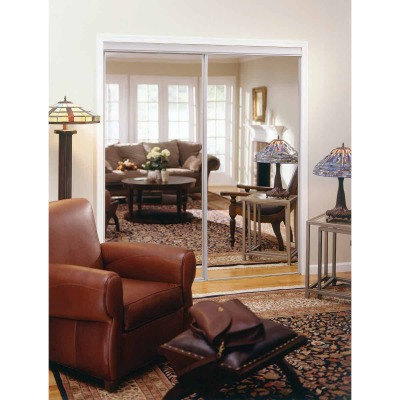 Erias 4050 Series 59 In. W. x 80-1/2 In. H. Bright White Top Hung Mirrored Bypass Door
