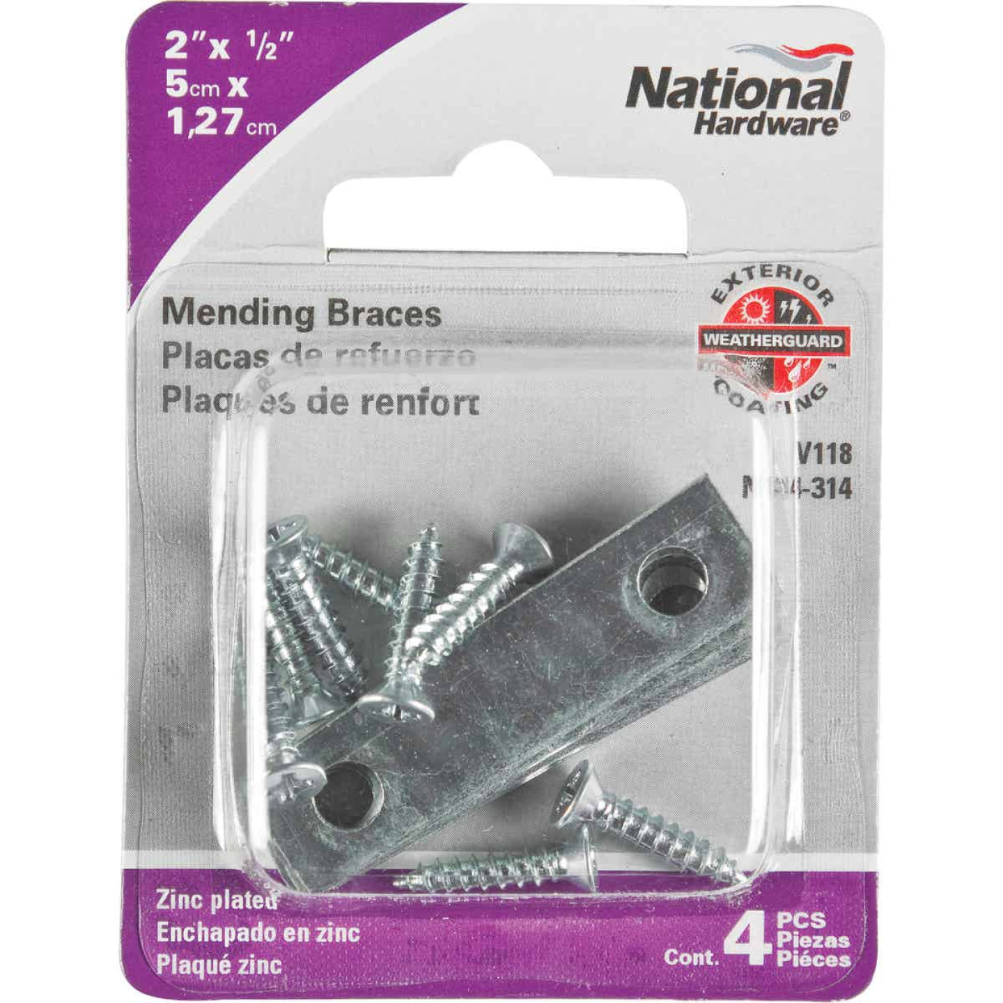 National Catalog 118 2 In. x 1/2 In. Zinc Steel Mending Brace (4-Count) Image 2