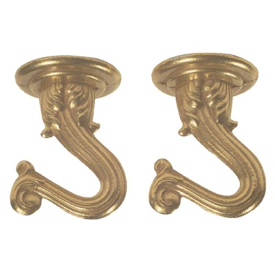 Westinghouse 1-1/2 In. Polished Brass Steel Swag Hook (2-Pack)