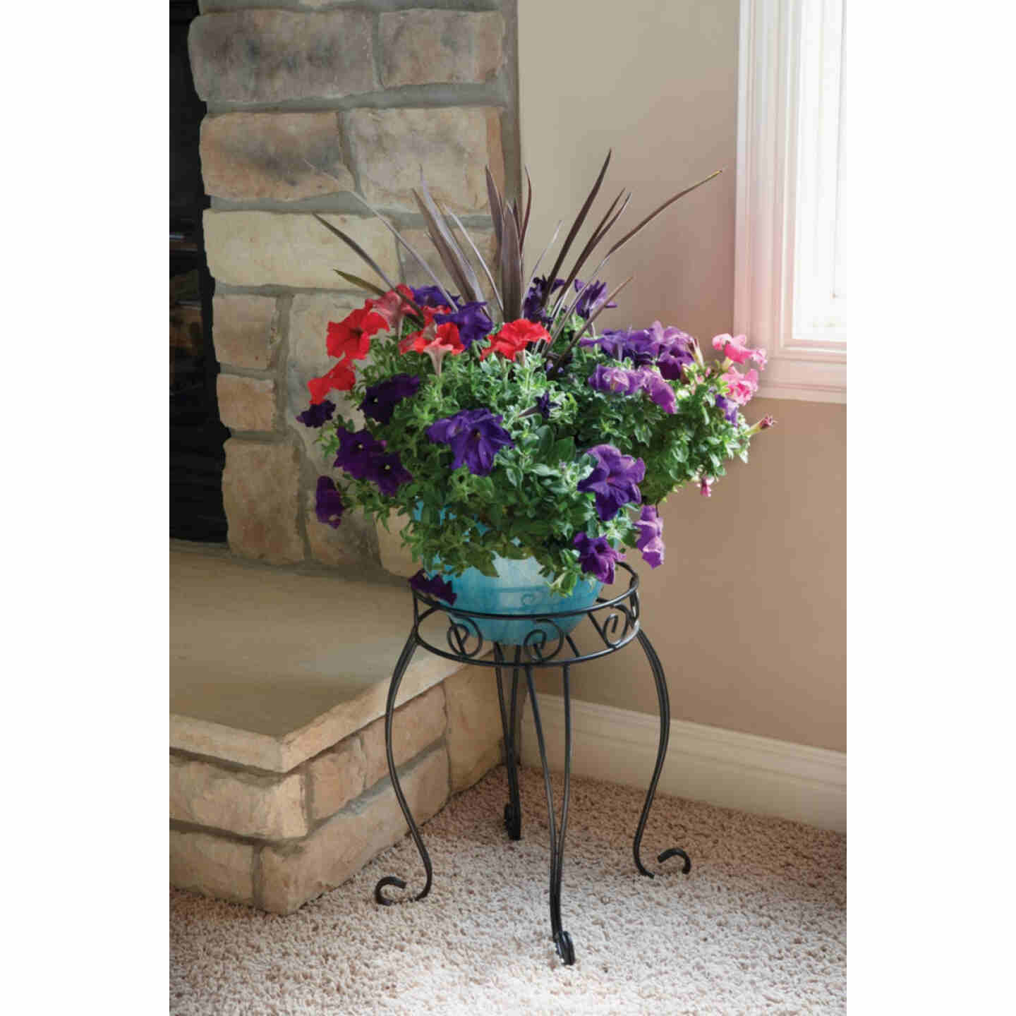 Best Garden Black Steel 21 In. H. Plant Stand Image 2